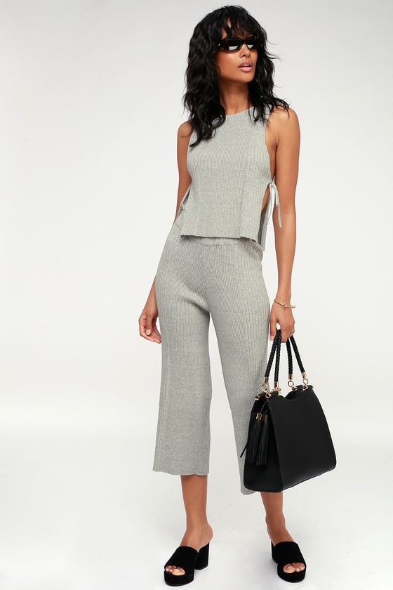 91ab2f066a Cute Heather Grey Two-Piece Jumpsuit - Culotte Jumpsuit