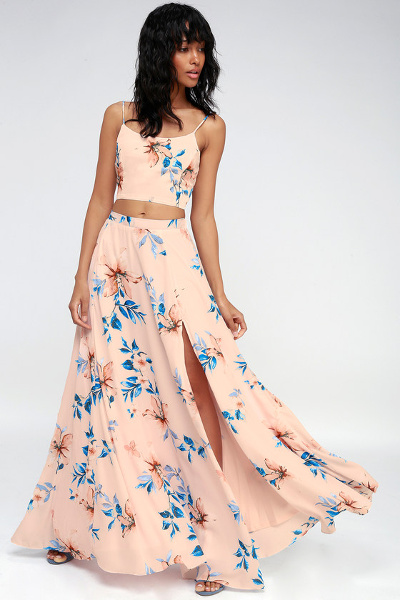 eca4cc54323 Light Peach Dress - Floral Maxi Dress - Two-Piece Dress