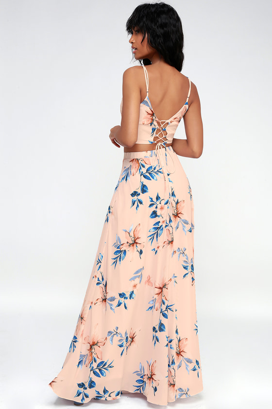 84f609cb9f Barefoot at the Beach Light Peach Print Two-Piece Maxi Dress