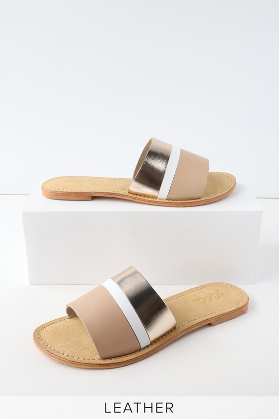 HARMONY SAND LEATHER SLIDE SANDALS