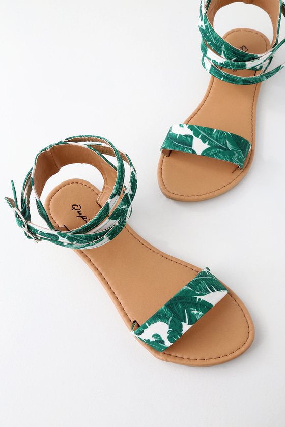 Green And White Tropical Print Sandals Ankle Strap Sandals