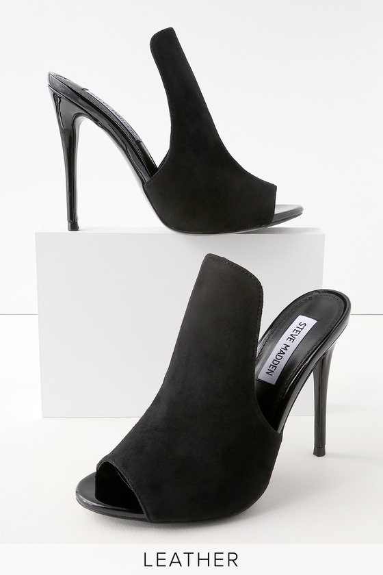 b6f89d293a7 Sinful Black Suede Leather Peep-Toe Mules