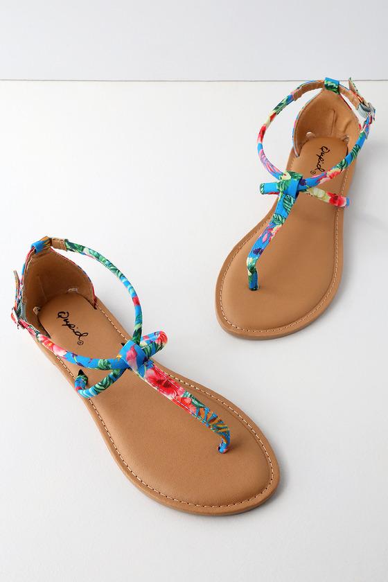 Cute Blue Multi Tropical Print Sandals - Ankle Strap Sandals