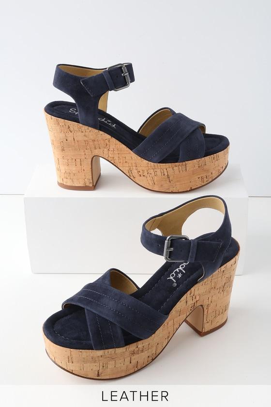 Lulus Flaire Navy Suede Leather Cork Platform Sandal Heels - Lulus KAtis9wgl