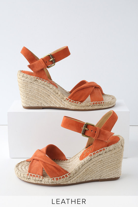 91a0a36db79 Splendid Fairfax - Coral Suede Leather Espadrilles - Wedges