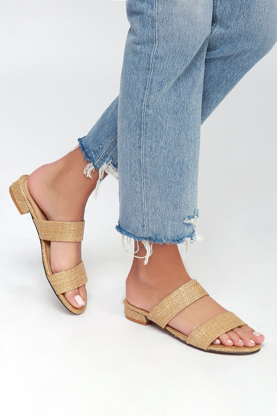 a01f6a456f3 Cute Woven Sandals - Natural Sandals - Slide Sandals