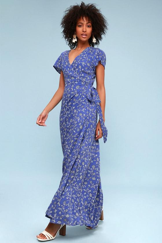 8c49a02f368f Amuse Society Summer Safari - Blue Floral Print Wrap Dress