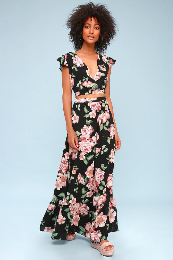 Good Fleur You Black Floral Print Two Piece Maxi Dress by Lulus