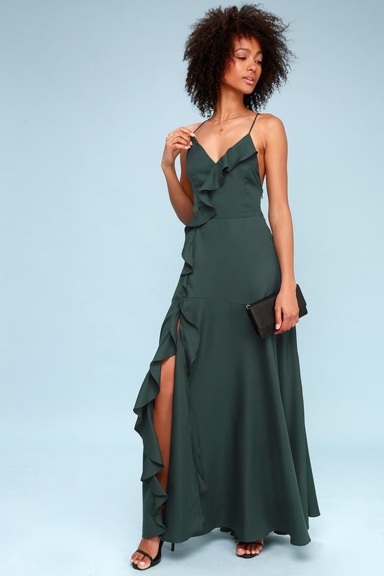 032d1d115796 Chic Green Maxi Dress - Ruffled Maxi Dress - Lace-Up Dress