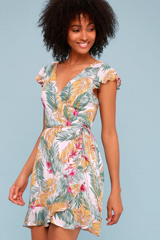 488d2fbe61c Cute Pink Dress - Tropical Print Dress - Palm Print Dress