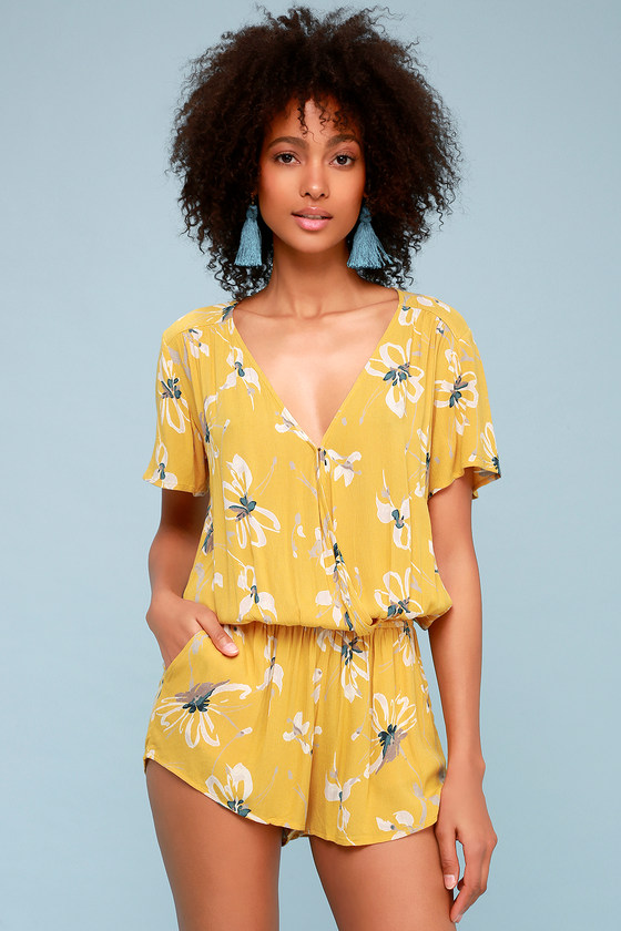 89e989f34ab O Neill Charlene - Golden Yellow Floral Print Romper