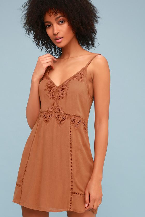 d63f1fc22e7 Amuse Society Beach Luxe - Brown Sundress - Crochet Dress