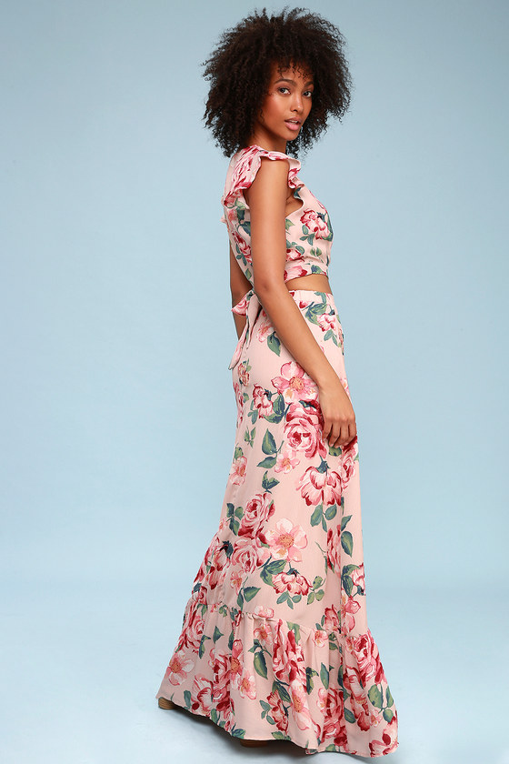 Good Fleur You Blush Pink Floral Print Two Piece Maxi Dress by Lulus