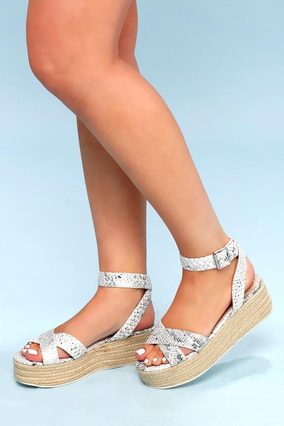 61629df2fbf Zala White and Silver Snake Print Espadrille Flatform Sandals