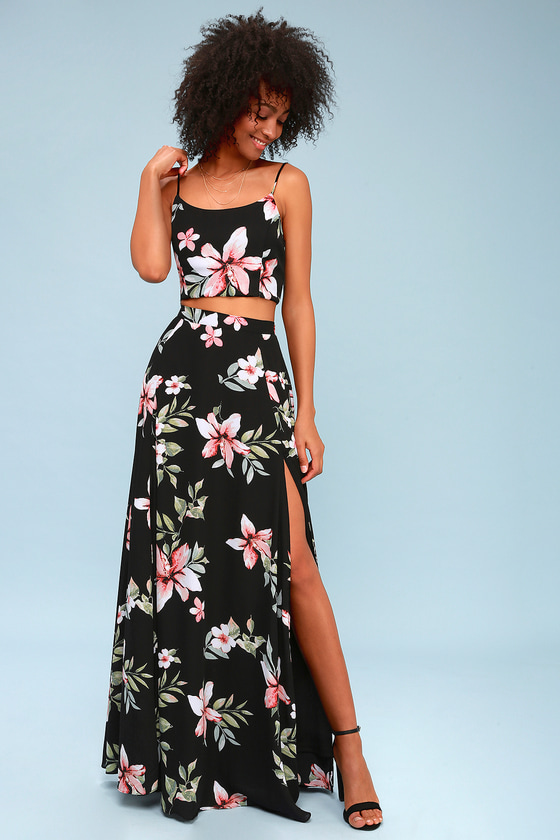 534a83e5e2f Black Dress - Floral Dress - Two-Piece Dress - Maxi Dress