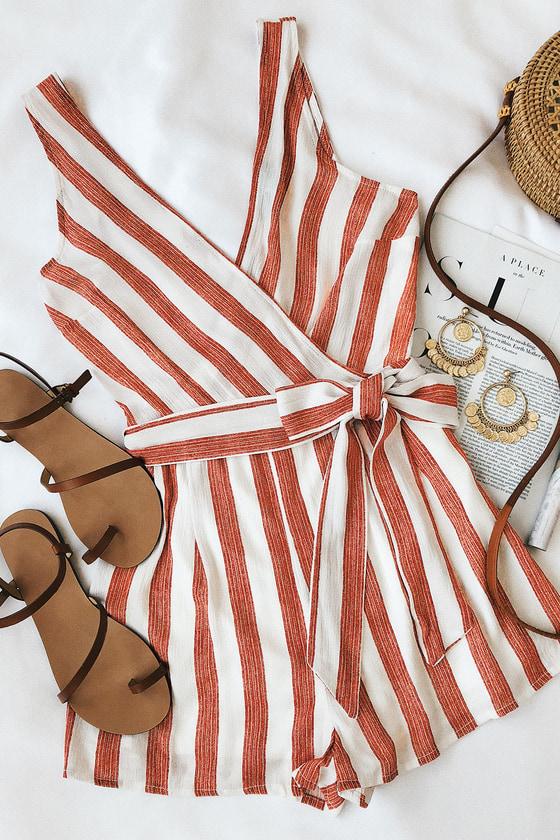 Pier Pleasure Red and White Striped Romper 5