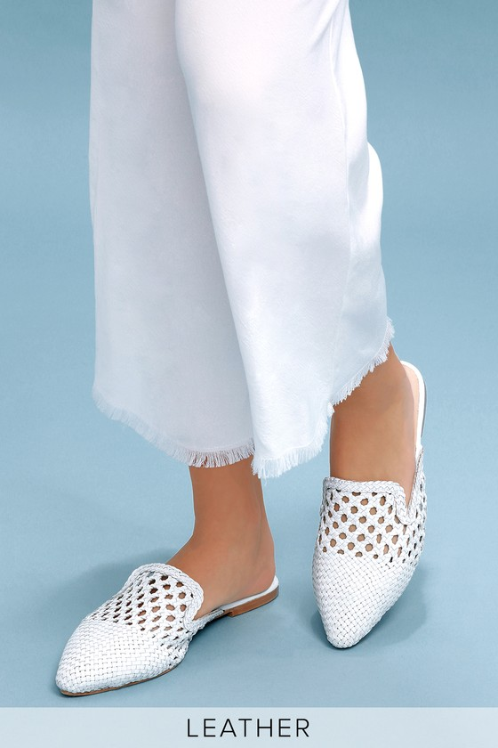 71f60f6fcc699 Camille White Woven Leather Loafer Slides