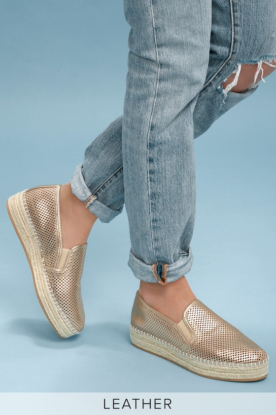 a9ff07335bb Wright Gold Leather Perforated Slip-On Espadrille Sneakers