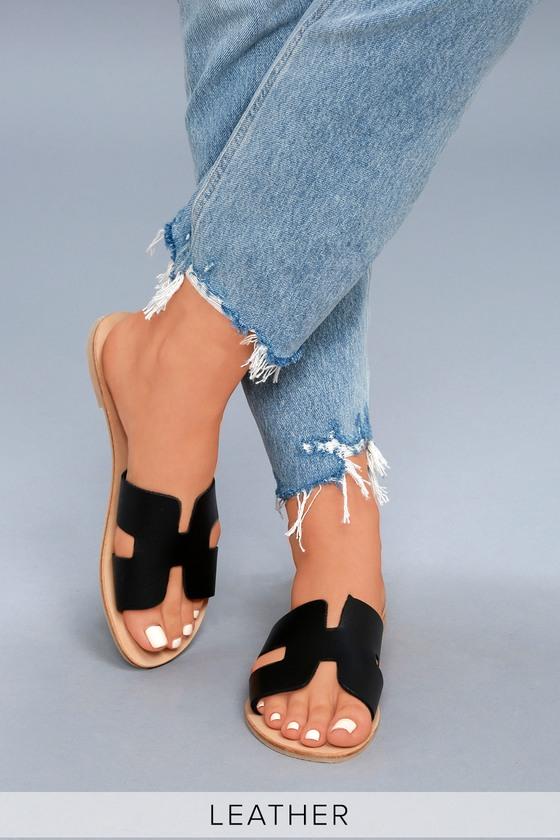 be72a713561 Steven by Steve Madden Greece - Black Leather Slide Sandals