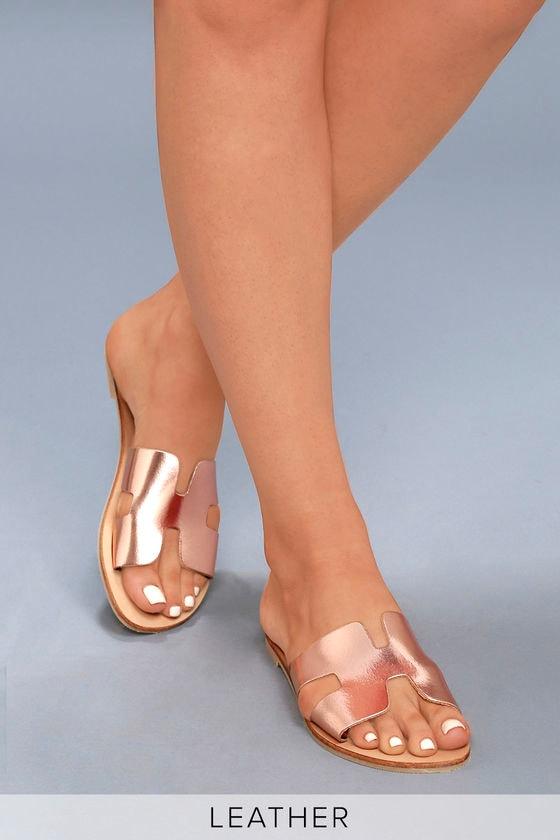 4ee16d77120 Steven by Steve Madden Greece - Rose Gold Slide Sandals