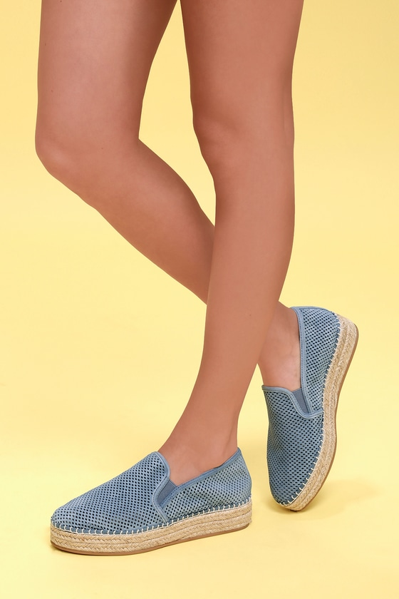1fc3319b740 Wright Blue Leather Perforated Slip-On Espadrille Sneakers