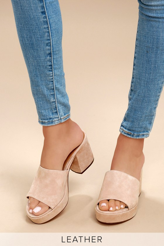 ab934c9984a Steve Madden Relax - Blush Suede Mules - Chunky Mules