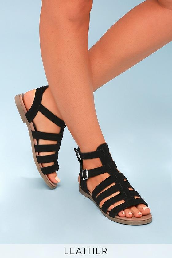 7d6237b6fb2 Steve Madden Diego - Black Gladiator Sandals - Suede Sandals
