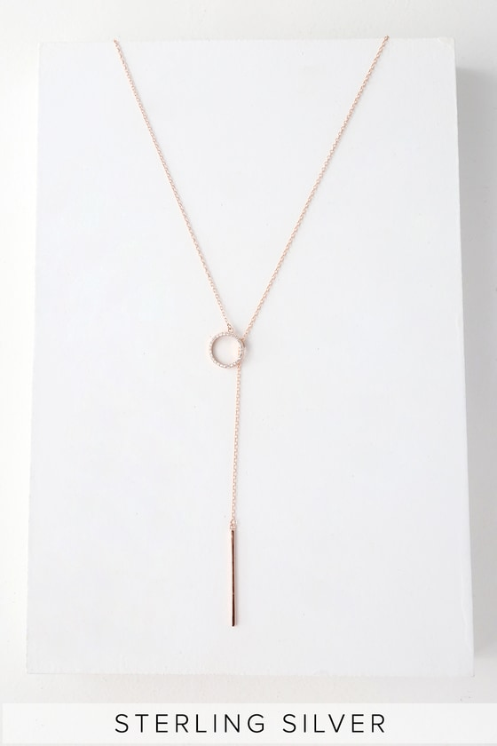 Olympia Rose Gold Rhinestone Lariat Necklace by Lulus