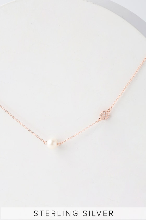 Vela Rose Gold And Pearl Necklace by Lulus