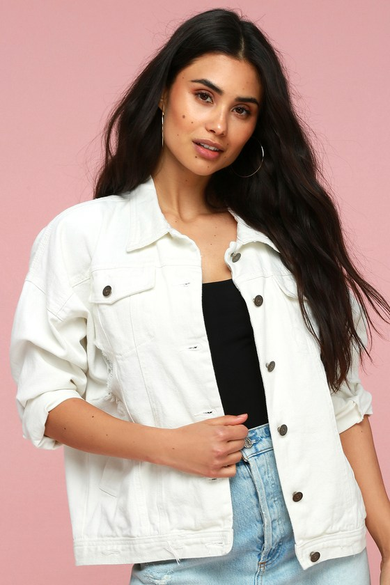 CALL OUT MY NAME WHITE DISTRESSED DENIM JACKET