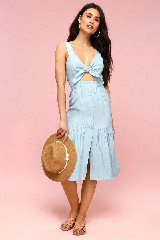 d303d210137e First Monday - Light Blue Chambray Dress - Tie-Front Midi