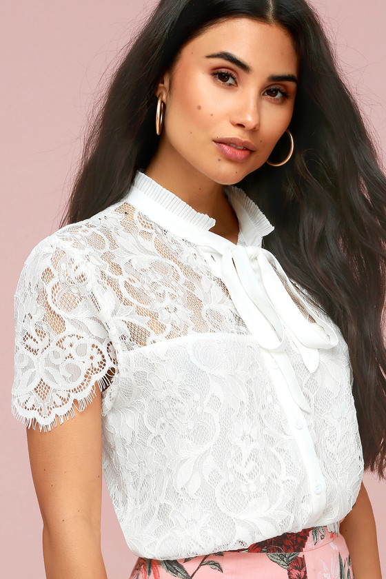 f7d57f5d6b182d Stunning Lace Top - White Lace Top - Short Sleeve Dress Top