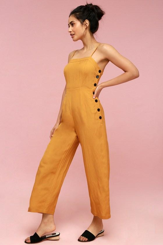 Vintage Overalls 1910s -1950s History & Shop Overalls Queens Golden Yellow Button-Up Culotte Jumpsuit - Lulus $69.00 AT vintagedancer.com