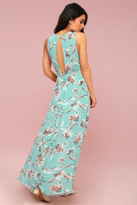 9e5b7f0b71 Cute Aqua Floral Print Dress - Maxi Dress - High-Low Dress