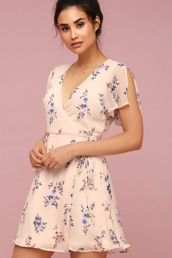 da69e5db47 Blush Pink Floral Print Dress - Wrap Dress - Mini Dress