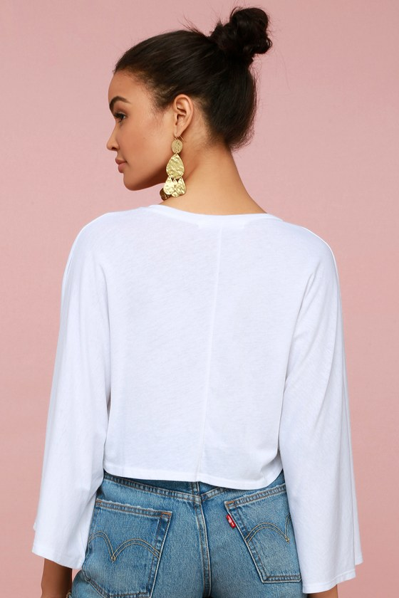ca02dd5a4c4 Project Social T - White Top - Knotted Top - Crop Top