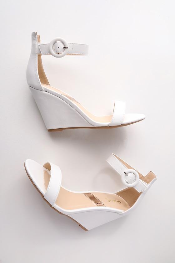 57c7f078580009 Chic White Heels - Ankle Strap Heels - Wedge Heels