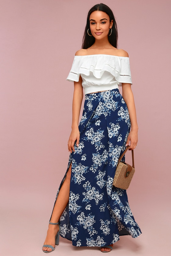 7b7d6239b018 Lucy Love French Seaside - White Floral Print Maxi Skirt