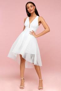 jewel white mesh high low dress