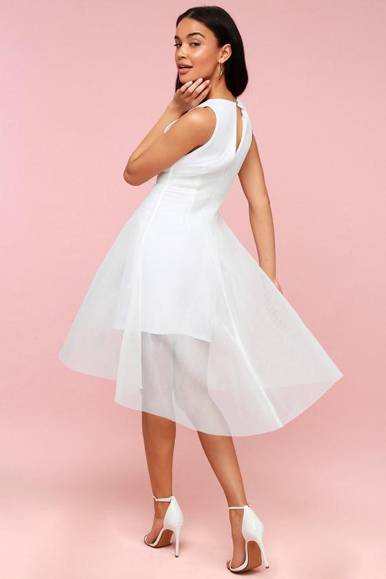 Elliatt Jewel - White Mesh Dress - White High-Low Dress e98e546c70a4