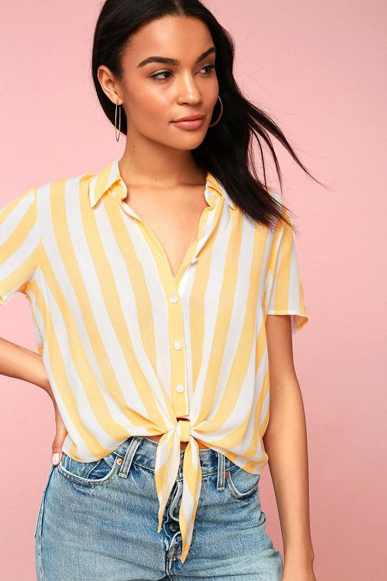 Portofino Coast Yellow Striped Button-Up Tie-Front Top - Lulus