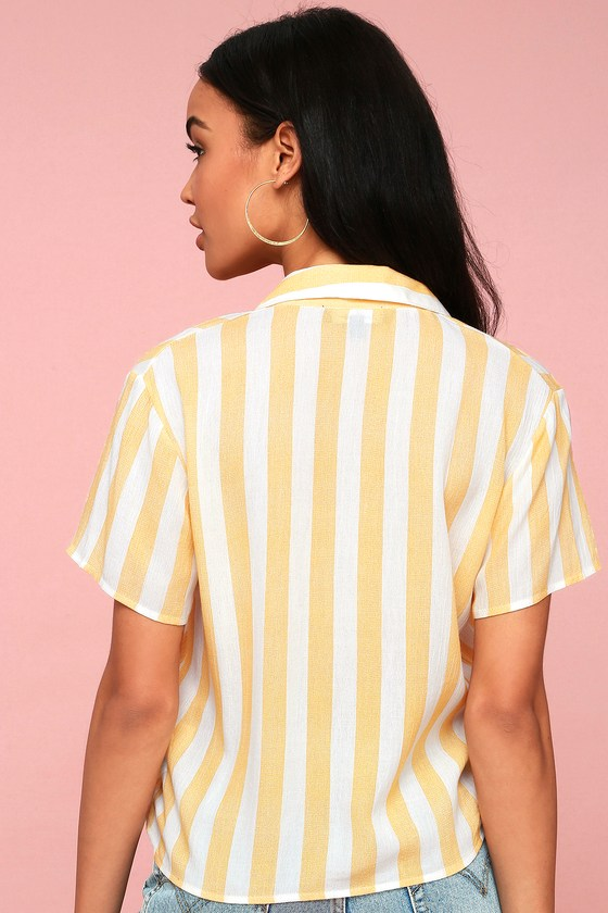 cc268735330a Chic Yellow Striped Button-Up Top - Striped Tie-Front Top