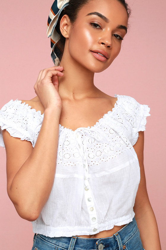 f21c7c8cc25ed8 Free People Eyelet You A Lot - White Crop Top - OTS Top