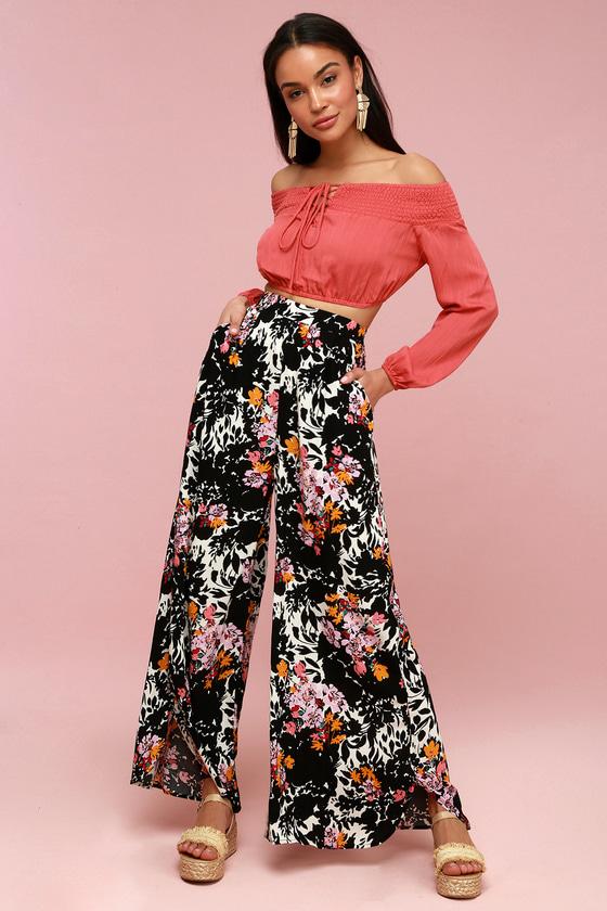 60s – 70s Pants, Jeans, Hippie, Bell Bottoms, Jumpsuits Late Night Black Floral Print Wide-Leg Pants - Lulus $78.00 AT vintagedancer.com
