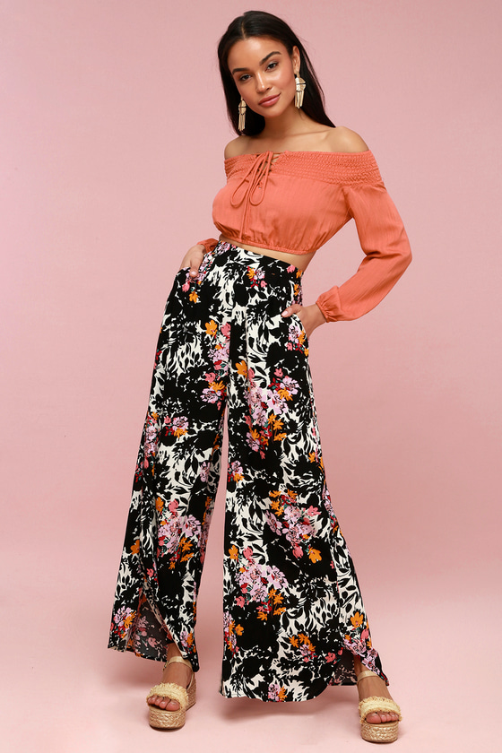 Vintage High Waisted Trousers, Sailor Pants, Jeans Late Night Black Floral Print Wide-Leg Pants - Lulus $78.00 AT vintagedancer.com