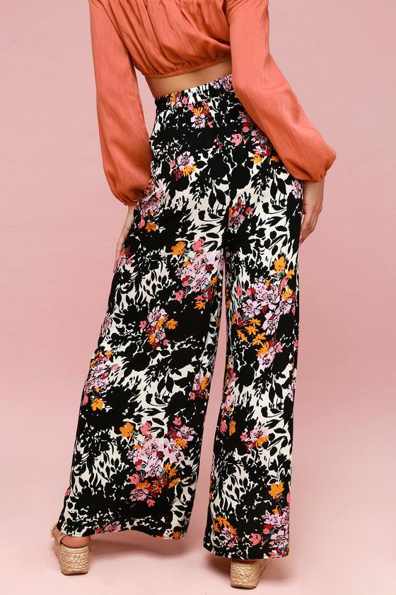 aae6f6bcef Free People Late Night - Black Floral Print Wide-Leg Pants