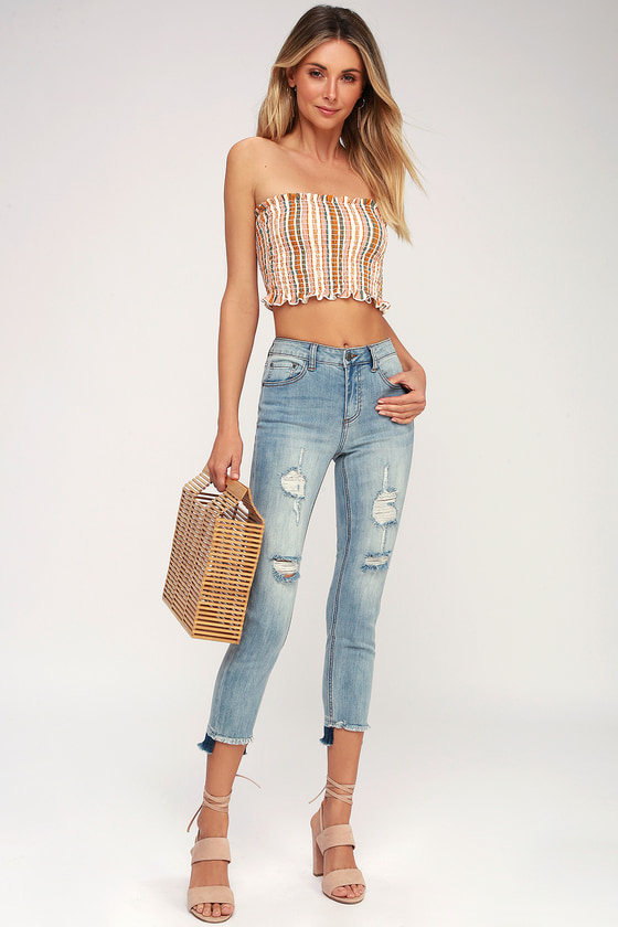 Antwerp Light Wash Distressed Ankle Skinny Jeans