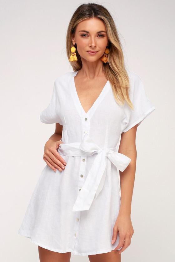 dfbd16e4f8c On the Road Deena - White Linen Dress - Button-Up Dress
