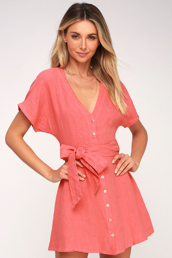 5b302fa4c4c On the Road Deena - Coral Pink Linen Dress - Button-Up Dress