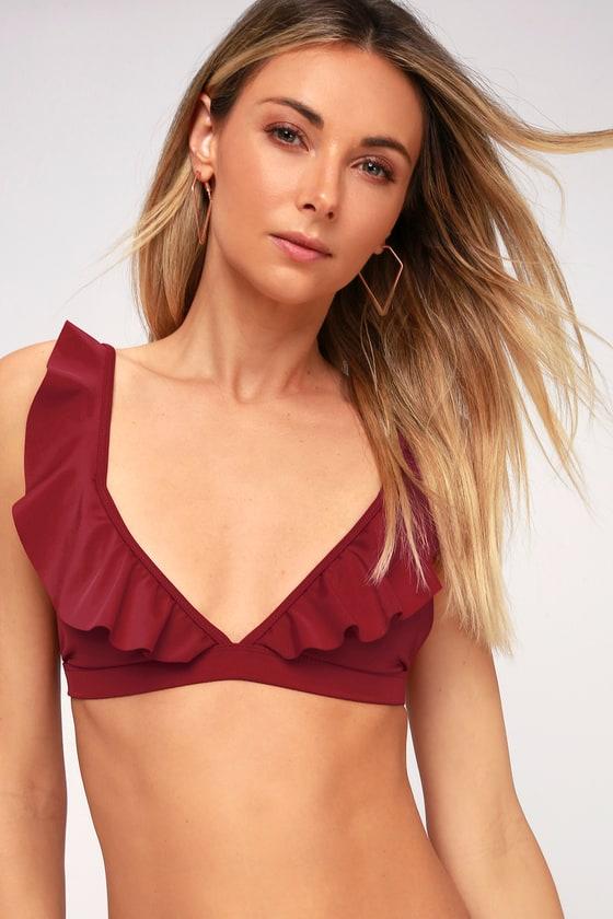 1a2e86fbab Cute Burgundy Bikini Top - Ruffled Triangle Bikini Top